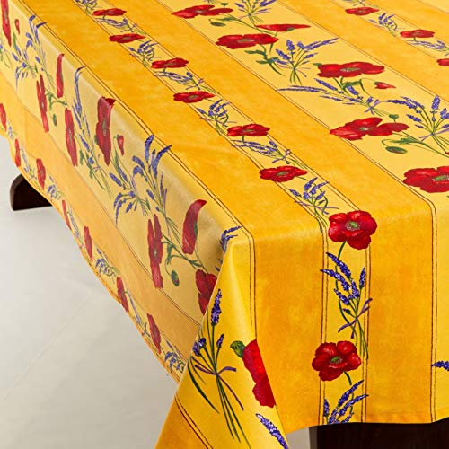 Amelie Michel Wipe Clean French Tablecloth In Yellow Poppies Authentic French Acrylic Coated 100 Cotton Fabric Easy Care Spill Proof 60 X 144 Rectangle 0