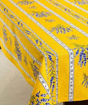 Amelie Michel Wipe Clean French Tablecloth In Yellow Valensole Lavender Authentic French Acrylic Coated 100 Cotton Fabric Easy Care Spill Proof 60 X 144 Rectangle 0 300x360