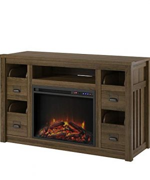 Ameriwood Home Adams TV Stand With Fireplace For TVs Up To 55 Brown Oak 0 0 300x360
