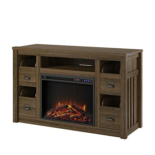 Ameriwood Home Adams TV Stand With Fireplace For TVs Up To 55 Brown Oak 0 0