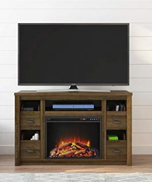 Ameriwood Home Adams TV Stand With Fireplace For TVs Up To 55 Brown Oak 0 3 300x360