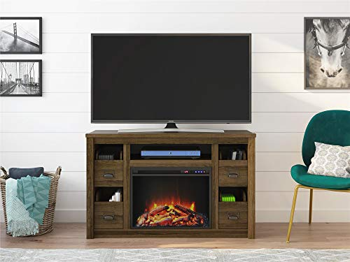 Ameriwood Home Adams TV Stand With Fireplace For TVs Up To 55 Brown Oak 0 3