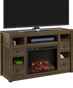 Ameriwood Home Adams TV Stand With Fireplace For TVs Up To 55 Brown Oak 0 300x360