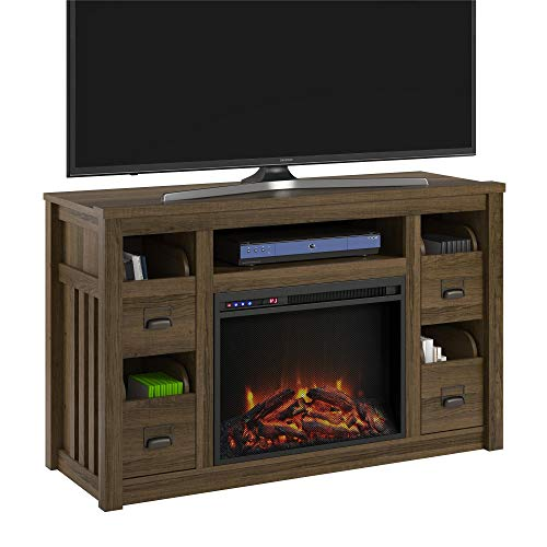 Ameriwood Home Adams TV Stand With Fireplace For TVs Up To 55 Brown Oak 0