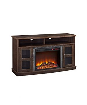 Ameriwood Home Barrow Creek Fireplace Console With Glass Doors For TVs Up To 60 Espresso 0 300x360