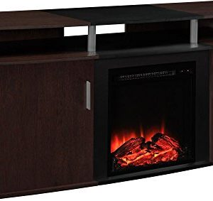 Ameriwood Home Carson Electric Fireplace TV Console For TVs Up To 70 Cherry 0 300x283