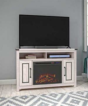 Ameriwood Home Cedar Ridge Fireplace 48 Rustic White TV Stand 0 300x360