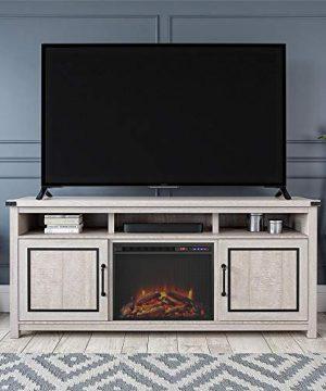 Ameriwood Home Cedar Ridge Fireplace 70 Rustic White TV Stand 0 0 300x360