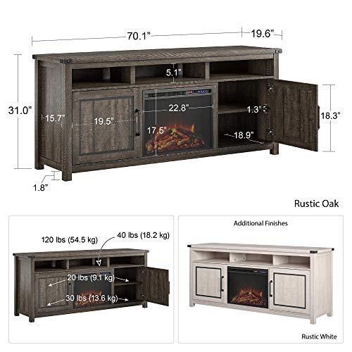 Ameriwood Home Cedar Ridge Fireplace 70 Rustic White TV Stand 0 2