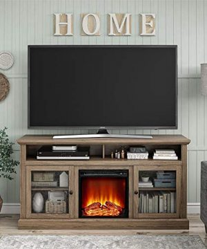 Ameriwood Home Chicago Fireplace 65 Rustic Oak TV Stand 0 0 300x360
