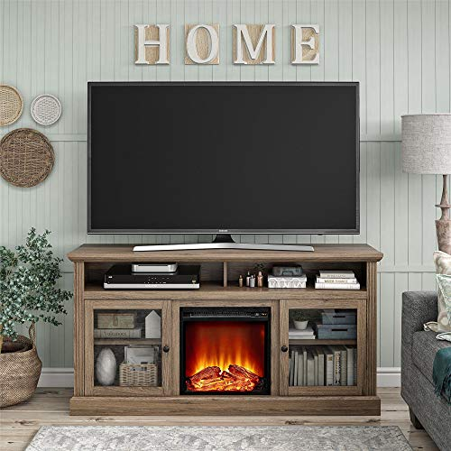 Ameriwood Home Chicago Fireplace 65 Rustic Oak TV Stand 0 0