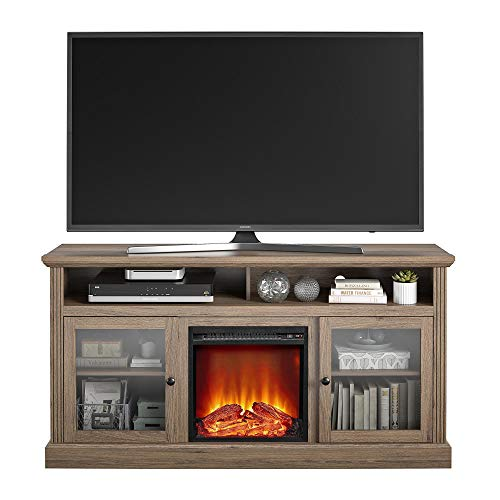 Ameriwood Home Chicago Fireplace 65 Rustic Oak TV Stand 0 1