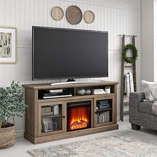 Ameriwood Home Chicago Fireplace 65 Rustic Oak TV Stand 0