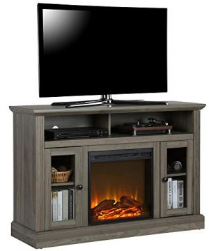 Ameriwood Home Chicago TV Stand With Fireplace Rustic Gray 0 300x360