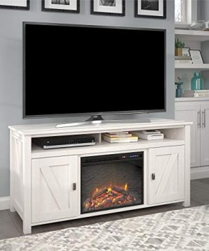 Ameriwood Home Farmington Electric Fireplace Console 60 Ivory Pine TV Stand 0 300x360