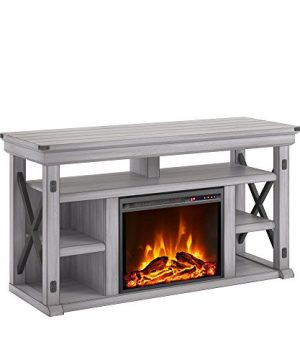 Ameriwood Home Wildwood Fireplace TV Stand Rustic White 0 300x360