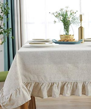 Amzali Cotton Linen Tablecloth Flounces Fabric Dust Proof Table Cover For Kitchen Dinner Picnic Table Cloth Tabletop Buffet Home Decoration RectangleOblong 55 X 70 Inch Linen 0 300x360