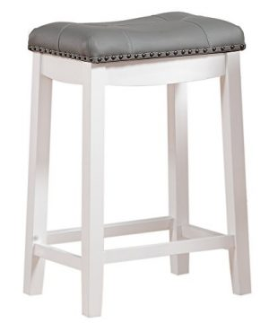 Angel Line Cambridge Bar Stools 24 Set Of 1 White With Gray Cushion 0 300x360