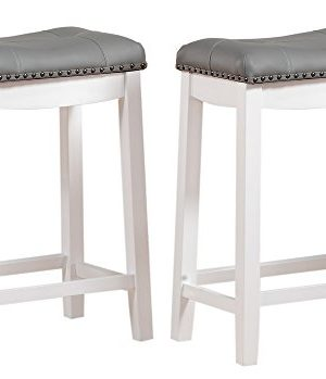 Angel Line Cambridge Bar Stools 24 Set Of 2 White With Gray Cushion 0 300x349