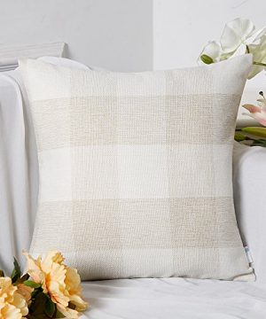 Anickal Set Of 2 Beige And White Buffalo Check Plaid Throw Pillow Covers Farmhouse Decorative Square Pillow Covers 18x18 Inches For Farmhouse Home Decor 0 0 300x360