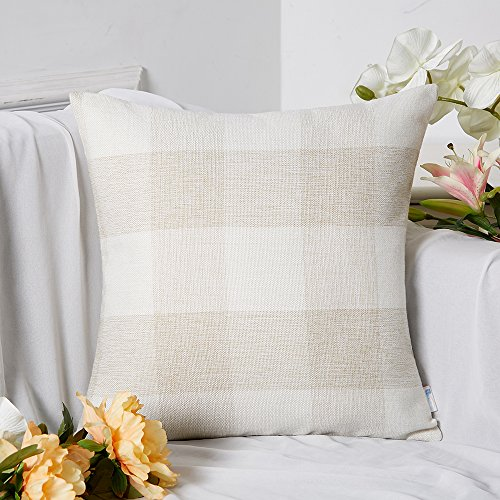 Anickal Set Of 2 Beige And White Buffalo Check Plaid Throw Pillow Covers Farmhouse Decorative Square Pillow Covers 18x18 Inches For Farmhouse Home Decor 0 0