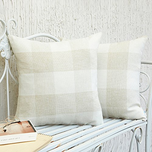 Anickal Set Of 2 Beige And White Buffalo Check Plaid Throw Pillow Covers Farmhouse Decorative Square Pillow Covers 18x18 Inches For Farmhouse Home Decor 0 1