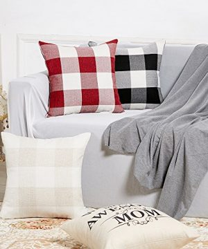 Anickal Set Of 2 Beige And White Buffalo Check Plaid Throw Pillow Covers Farmhouse Decorative Square Pillow Covers 18x18 Inches For Farmhouse Home Decor 0 2 300x360