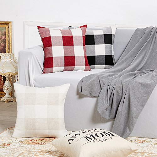 Anickal Set Of 2 Beige And White Buffalo Check Plaid Throw Pillow Covers Farmhouse Decorative Square Pillow Covers 18x18 Inches For Farmhouse Home Decor 0 2