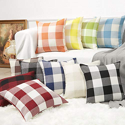 Anickal Set Of 2 Beige And White Buffalo Check Plaid Throw Pillow Covers Farmhouse Decorative Square Pillow Covers 18x18 Inches For Farmhouse Home Decor 0 3