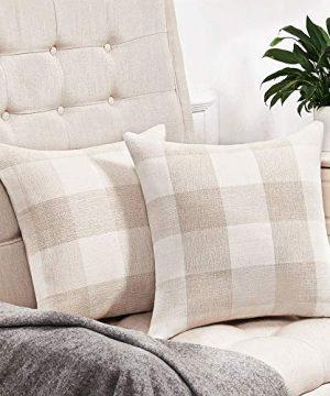 Anickal Set Of 2 Beige And White Buffalo Check Plaid Throw Pillow Covers Farmhouse Decorative Square Pillow Covers 18x18 Inches For Farmhouse Home Decor 0 300x360