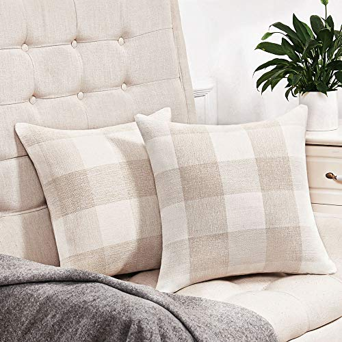 Anickal Set Of 2 Beige And White Buffalo Check Plaid Throw Pillow Covers Farmhouse Decorative Square Pillow Covers 18x18 Inches For Farmhouse Home Decor 0