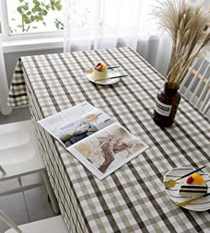 Aquazolax Gingham Checkered Tablecloth Farmhouse Chic Plaid Table Covers For Family Dinner Gatherings 56 Inch Square In Brown 0 0 300x333