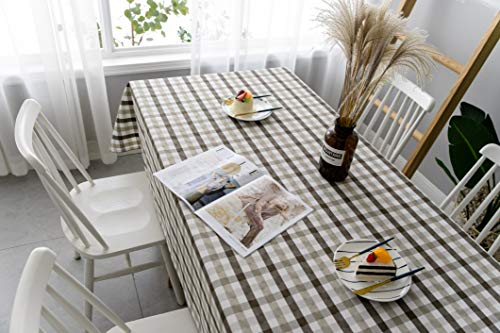 Aquazolax Gingham Checkered Tablecloth Farmhouse Chic Plaid Table Covers For Family Dinner Gatherings 56 Inch Square In Brown 0 0
