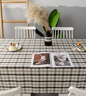 Aquazolax Gingham Checkered Tablecloth Farmhouse Chic Plaid Table Covers For Family Dinner Gatherings 56 Inch Square In Brown 0 1 300x333