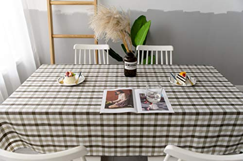 Aquazolax Gingham Checkered Tablecloth Farmhouse Chic Plaid Table Covers For Family Dinner Gatherings 56 Inch Square In Brown 0 1