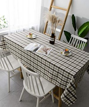 Aquazolax Gingham Checkered Tablecloth Farmhouse Chic Plaid Table Covers For Family Dinner Gatherings 56 Inch Square In Brown 0 2 300x360