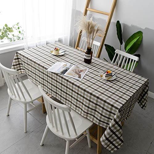 Aquazolax Gingham Checkered Tablecloth Farmhouse Chic Plaid Table Covers For Family Dinner Gatherings 56 Inch Square In Brown 0 2