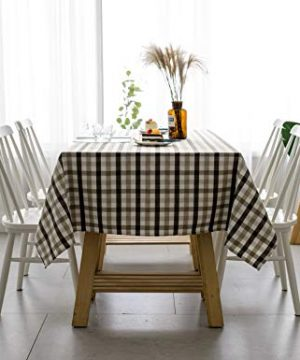 Aquazolax Gingham Checkered Tablecloth Farmhouse Chic Plaid Table Covers For Family Dinner Gatherings 56 Inch Square In Brown 0 3 300x360