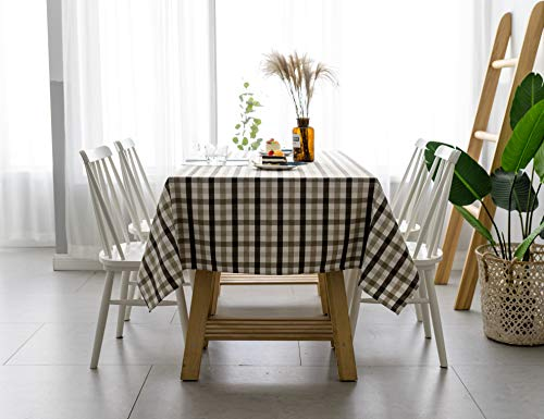 Aquazolax Gingham Checkered Tablecloth Farmhouse Chic Plaid Table Covers For Family Dinner Gatherings 56 Inch Square In Brown 0 3