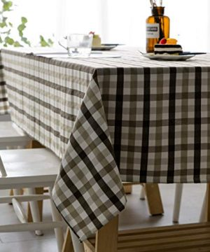 Aquazolax Gingham Checkered Tablecloth Farmhouse Chic Plaid Table Covers For Family Dinner Gatherings 56 Inch Square In Brown 0 300x360