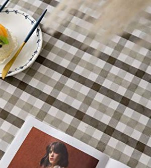 Aquazolax Gingham Checkered Tablecloth Farmhouse Chic Plaid Table Covers For Family Dinner Gatherings 56 Inch Square In Brown 0 4 300x333