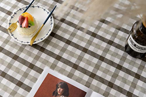 Aquazolax Gingham Checkered Tablecloth Farmhouse Chic Plaid Table Covers For Family Dinner Gatherings 56 Inch Square In Brown 0 4