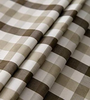 Aquazolax Gingham Checkered Tablecloth Farmhouse Chic Plaid Table Covers For Family Dinner Gatherings 56 Inch Square In Brown 0 5 300x333