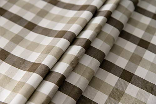 Aquazolax Gingham Checkered Tablecloth Farmhouse Chic Plaid Table Covers For Family Dinner Gatherings 56 Inch Square In Brown 0 5
