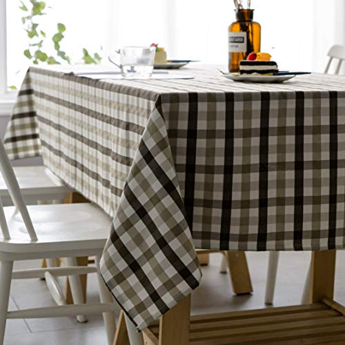 Aquazolax Gingham Checkered Tablecloth Farmhouse Chic Plaid Table Covers For Family Dinner Gatherings 56 Inch Square In Brown 0