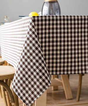 Aquazolax Square Farmhouse Table Cover Cotton Polyester Blend Buffalo Plaid Table Cloth For Dinning RoomKitchen 54x54 Inch Brown 0 300x360
