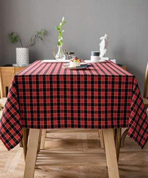Aquazolax Tablecloth Farmhouse Chic Square Buffalo Plaid Table Covers For Family Dinner Gatherings 54 Inch Square In Black And Red 0 300x360