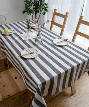 Aquazolax Weights Farmhouse Tablecloth Rustic Wedding Parties Stripe Pattern Table OverlayDecorations 54 X 84 Inch Black 0 0 300x360