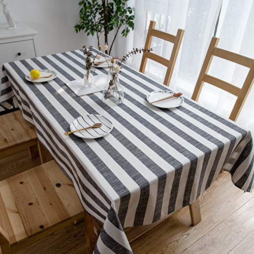 Aquazolax Weights Farmhouse Tablecloth Rustic Wedding Parties Stripe Pattern Table OverlayDecorations 54 X 84 Inch Black 0 0