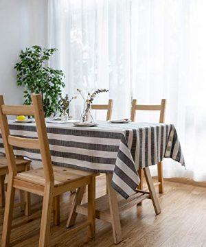 Aquazolax Weights Farmhouse Tablecloth Rustic Wedding Parties Stripe Pattern Table OverlayDecorations 54 X 84 Inch Black 0 1 300x360
